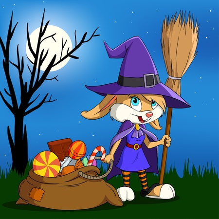 Cartoon halloween bunny girl in witch outfit with candy sack. Vector illustration. Vector