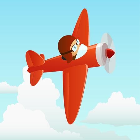 avion caricatura: Aviones en el cielo de nubes con piloto. Vectores