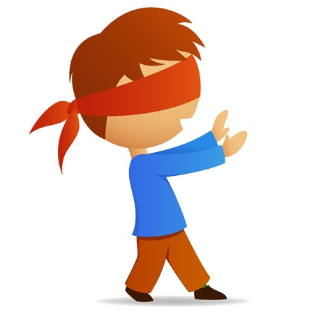 blind: Cartoon man walk with blindfold on face. Illustration