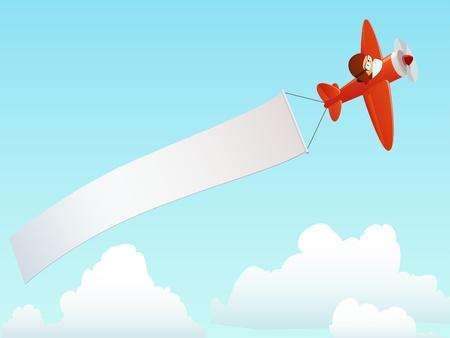 Cartoon máy bay màu đỏ với phi công và banner quảng cáo trên bầu trời. Minh hoạ vector.
