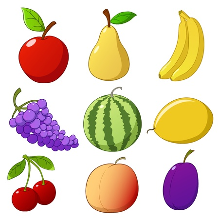 Set cartoon hand drawn fruits isolated on white background. Vector illustration. Stock Vector - 10674674