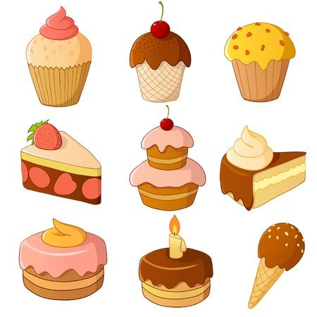 helado caricatura: Conjunto de dibujos animados pastel aislada sobre fondo blanco. Ilustración vectorial.