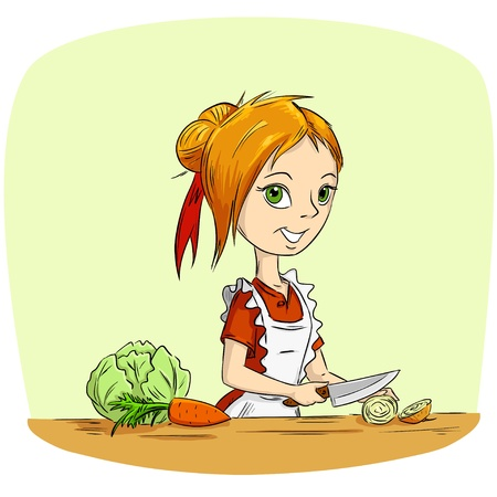 Cartoon woman housewife cooking vegetables with knife. Vector illustration. Illustration