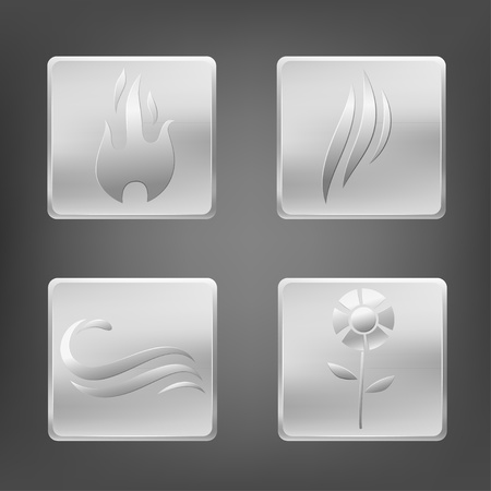 fire water: Set of nature elements symbols with metal icon. Vector illustration.
