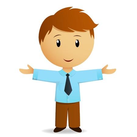 Chúc mừng cartoon thương trong chiếc áo xanh với cà vạt. Minh hoạ vector.