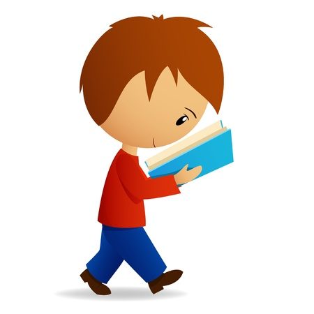 Young cartoon male student walking and reading. Vector illustration. Illustration