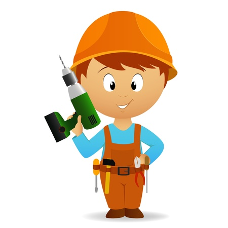 Vector illustration. Cartoon handyman with tools belt and battery drill