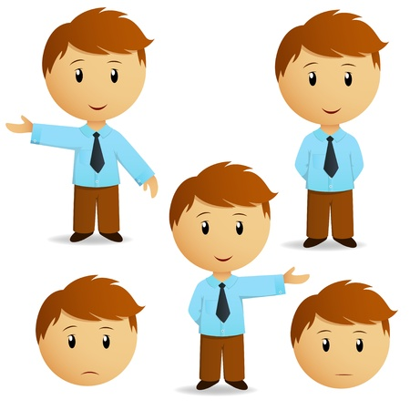 caricatura: Conjunto de la presentaci�n de dibujos animados feliz hombre de negocios en camisa azul con corbata. Ilustraci�n vectorial.