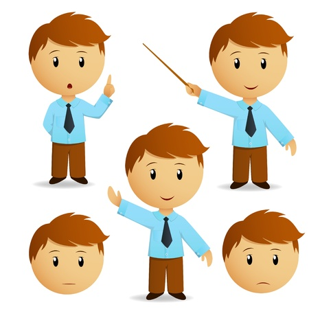 Set of happy cartoon businessman for presentation in blue shirt with tie. Vector illustration.