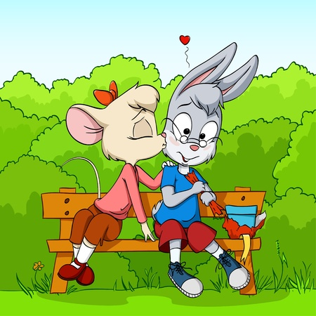 Little cartoon mouse female kissing shy rabbit boy on the wooden bench on green bush background.  Vector