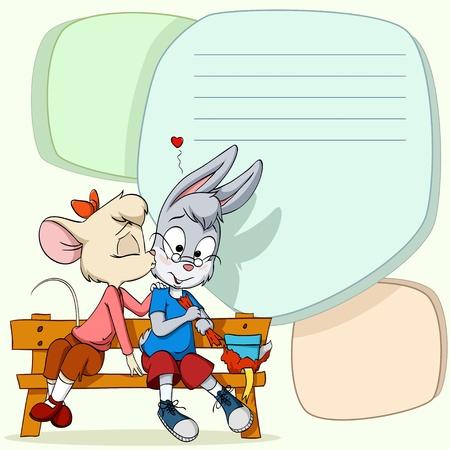 animal nose: Peque�a hembra del rat�n de dibujos animados besos ni�o conejo t�mido en el banco de madera sobre un fondo abstracto.
