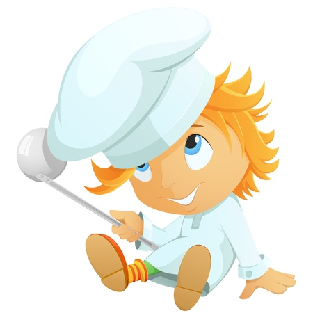 ladles: Cute little cartoon chef in hat isolated on white background. Vector illustration.