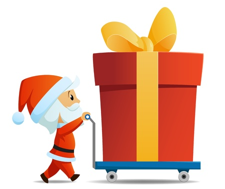 product box: Service men santa with cart and big christmas gift box. Vector illustration.