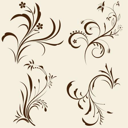 Set of decorative floral ornament with design elements. Vector illustration.