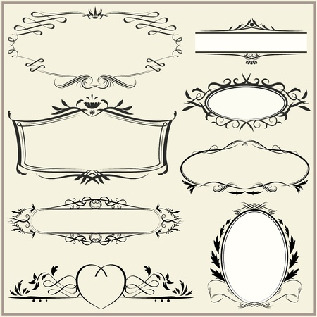 Set of exquisite ornamental and page decoration designs. Retro vintage frames. Vector illustration. Vector