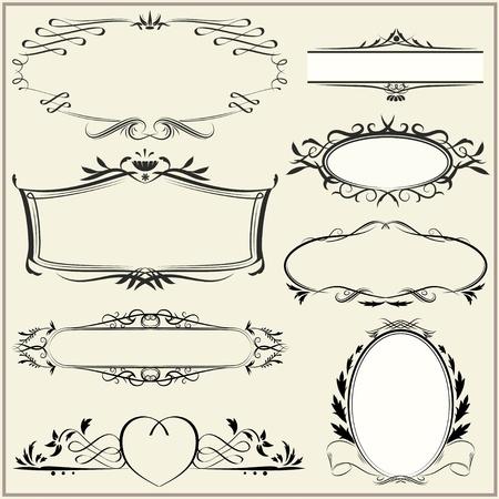 Set of exquisite ornamental and page decoration designs. Retro vintage frames. Vector illustration. Vector