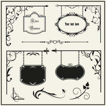 letreros: Establecer letrero de hierro de �poca y elementos florales decoraci�n. Ilustraci�n vectorial. Vectores