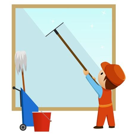 Uomo delle pulizie e finestra lavare con secchio. Illustrazione vettoriale