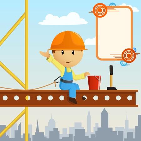 bauarbeiterhelm: Builder Arbeiter Steeplejack Begr��ung auf hohe Konstruktion. Vektor-Illustration.