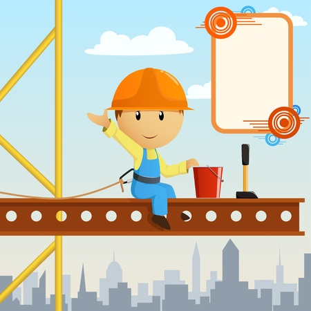 pore: Builder worker steeplejack greeting on high construction. Vector illustration.