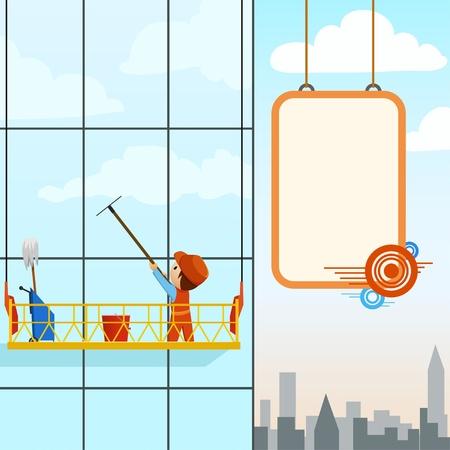 高いタワーの男の洗浄の窓。背景にビルボード プラカード