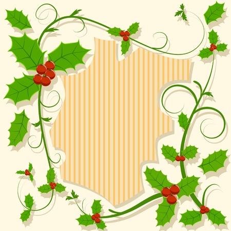Christmas decoration with holly berry floral curly pattern. Vector illustration. Vector