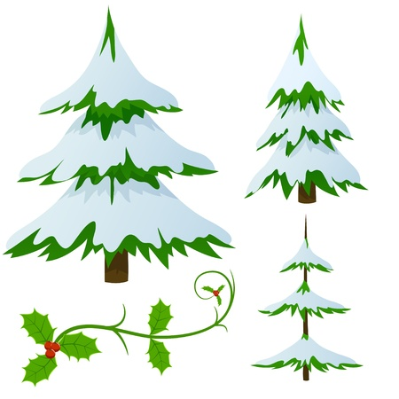 snow covered: Set of snow covered fir trees and holly christmas decorated branch. Vector illustration.