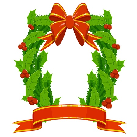 Christmas holly and fir garland with red decorative ribbons bow on white background. Vector illustration. Stock Vector - 11536161