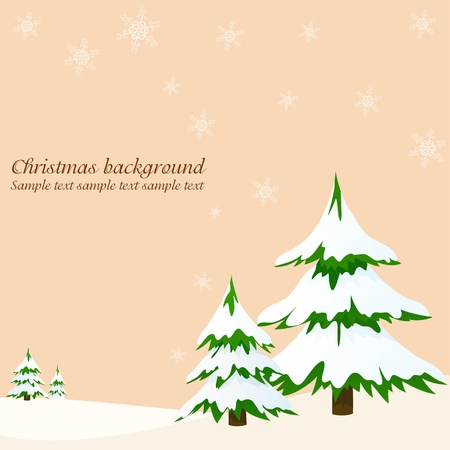 frost covered: Landscape with fir trees greeting card. Vector illustration. Illustration