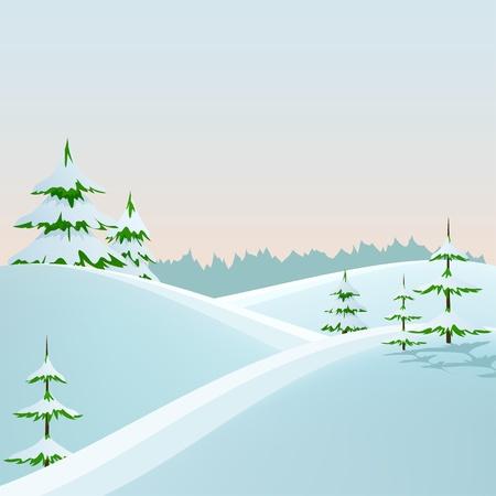 冬スタイルのモミの木と森の風景。ベクトル イラスト。
