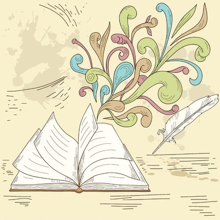 Geopend boek met abstracte ontwerp retro-elementen en grunge vintage achtergrond. Vector illustratie. Vector Illustratie