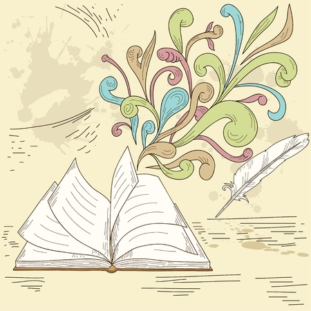 articles: Opened book with abstract design retro elements and grunge vintage background. Vector illustration.