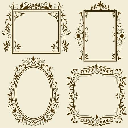 Set of vintage frames with floral ornament. Vector illustration.