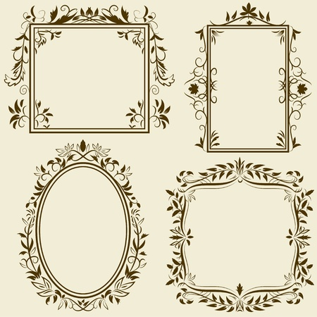 Set of vintage frames with floral ornament. Vector illustration. Vector
