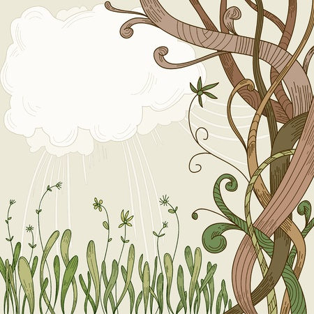 Abstract fantasy tree and plant background with text place. Vector illustration. Vector