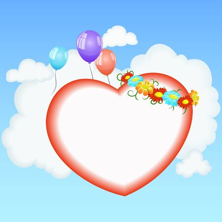 Abstract valentine card with heart shape on cloud sky background. Vector illustration. Vector