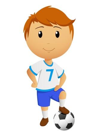 futbol soccer dibujos: El futbolista de dibujos animados o de futbolista con la pelota aislados sobre fondo blanco. Ilustración del vector.