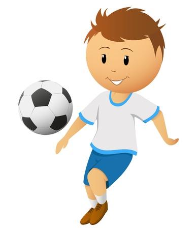 Cartoon cầu thủ bóng đá hay bóng đá cầu thủ chơi với quả bóng bị cô lập trên nền trắng. Minh hoạ vector.