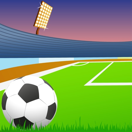 Soccer ball on green field of the stadium. Vector illustration. Illustration
