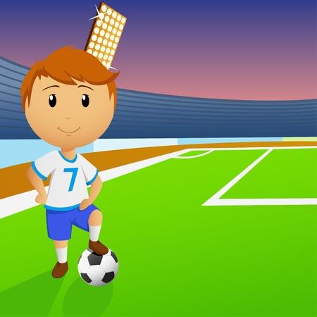 Jugador de fútbol con la pelota en campo verde del estadio. Ilustración del vector. Vectores