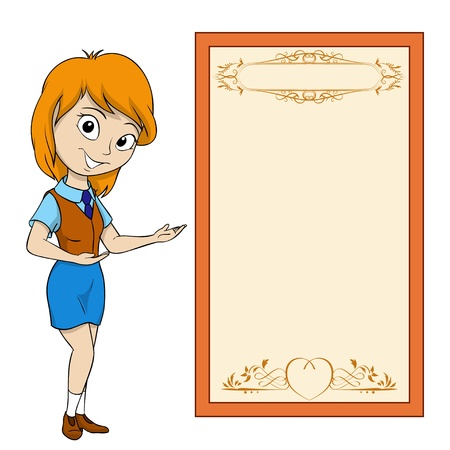 placards: Smiling cartoon girl with place for text on placard. Vector illustration.