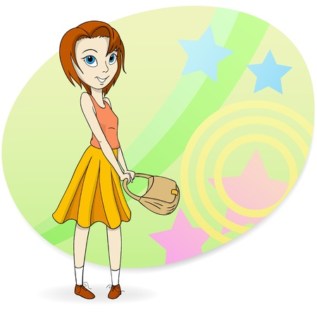teenage girl dress: Fashion girl with pocket bag on abstract background. Vector illustration.