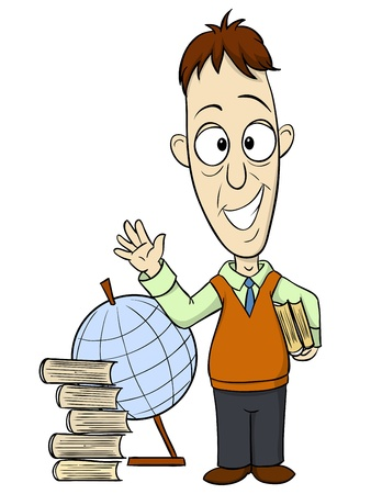 working place: Cartoon teacher with book and globe on background. Vector illustration.