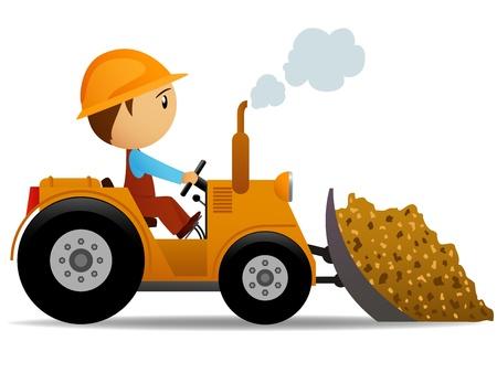 escavadeira: Cartoon bulldozer at construction work with worker driver. Vector illustration.