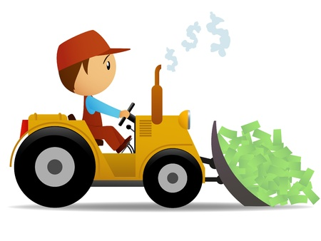 Cartoon bulldozer moving money with worker driver. Vector illustration.