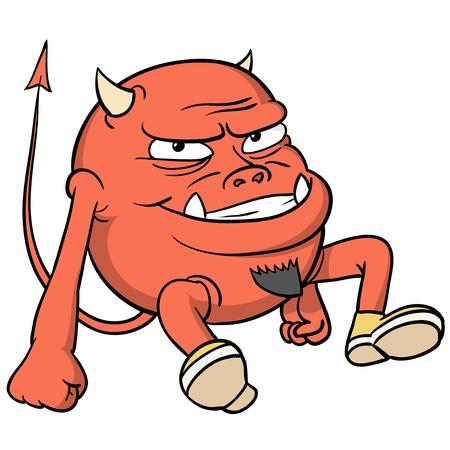 Caricatura del diablo rojo con barba en los zapatos. Ilustración del vector. Foto de archivo - 12387654