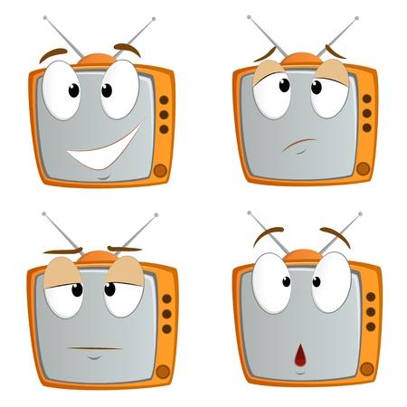 ver tv: Conjunto de símbolos de televisión de dibujos animados emocionales aisladas en blanco ilustración vectorial