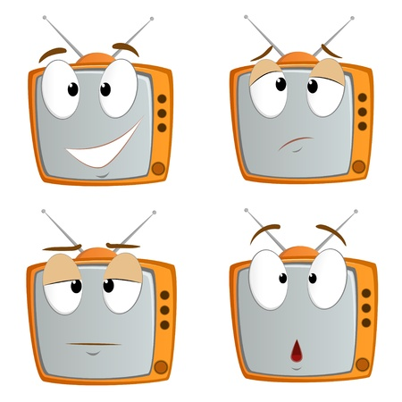 Set of cartoon tv emotional symbols isolated on white  Vector illustration  Vector