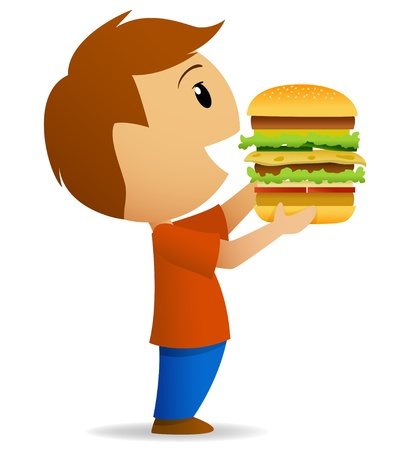 ベクトル図は大きなハンバーガーを食べに行く若い男性  イラスト・ベクター素材