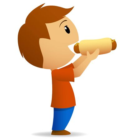 Young men going to eat big hotdog  Vector illustration